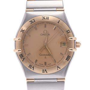 Omega Champagne 18K Yellow Gold and Stainless Steel Constellation 1312.10 Women's Wristwatch 33 MM