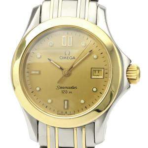 Omega Champagne 18K Yellow Gold And Stainless Steel Seamaster Quartz Women's Wristwatch 26 MM