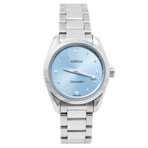 ساعة يد نسائية أوميغا سيماستر اكوا تيرا 220.10.28.60.53.001 ستانلس ستيل و ألماس زرقاء 28 مم