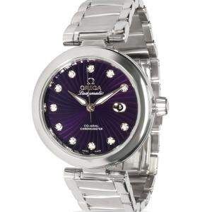 Omega Purple Stainless Steel Ladymatic 425.30.34.20.60.001 Women's Wristwatch 34 MM