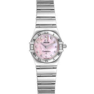 Omega Pink MOP Diamonds Stainless Steel Constellation 1566.66.00 Women's Wristwatch 22.5 MM