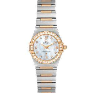 Omega MOP Diamonds 18K Rose Gold And Stainless Mini Constellation 1360.76.00 Women's Wristwatch 22.5 MM
