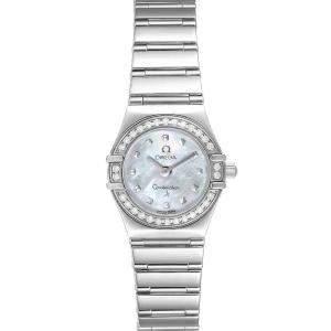Omega MOP Diamonds Stainless Steel Constellation My Choice 1465.71.00 Women's Wristwatch 22 MM