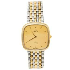 ساعة يد نسائية أوميغا دي فيل 395.3378 ذهب أصفر عيار 18 و ستانلس ستيل  فينتدج 30 مم
