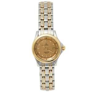 ساعة يد نسائية أوميغا سي ماستر 120M  ستانلس ستيل وذهب أصفر عيار 18 سامبانيا 28مم