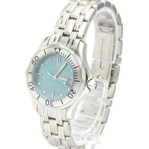 Omega Blue MOP Stainless Steel Seamaster Quartz 2085.71 Women's Wristwatch 29 MM