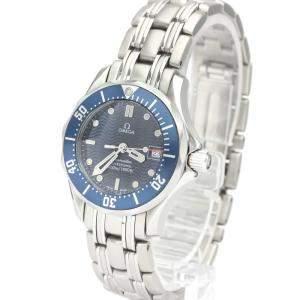 Omega Blue Stainless Steel Seamaster Professional 300M 2583.80 Quartz Women's Wristwatch 29 MM