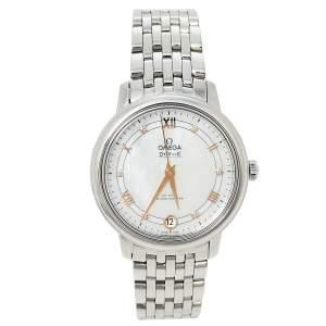 ساعة يد نسائية أوميغا دي فيل بريستيغ كو-اكسيال 424.10.33.20.55.002 ألماس و ستانلس ستيل و صدف 32.70 مم