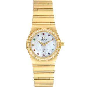 Omega MOP Multi Stone 18K Yellow Gold Constellation Iris 1177.79.00 Women's Wristwatch 22.5 MM
