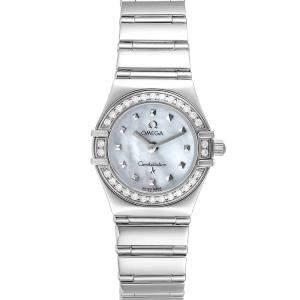 Omega MOP Diamonds Stainless Steel Constellation My Choice Mini 1465.71.00 Women's Wristwatch 22.5 MM