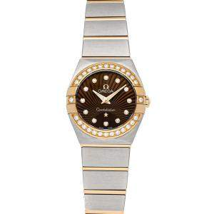 Omega Brown Diamonds 18K Rose Gold And Stainless Steel Constellation 123.25.24.60.63.001 Women's Wristwatch 24 MM
