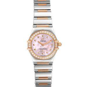 Omega Pink MOP Diamonds 18k Rose Gold And Stainless Steel Constellation 1365.71.00 Men's Wristwatch 22.5 MM