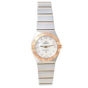Omega Mother of Pearl 18K Rose Gold & Stainless Steel Diamond Constellation 123.20.24.60.55.001 Women's Wristwatch 24 mm