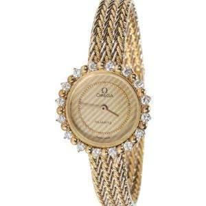 Omega Champagne Diamonds 18K Yellow Gold Dress Women's Wristwatch 23 MM