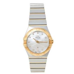 Omega Mother of Pearl 18K Yellow Gold & Stainless Steel Diamond Constellation 123.20.27.60.55.005 Women's Wristwatch 27 mm
