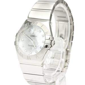 Omega MOP Diamonds Stainless Steel Constellation 123.10.27.60.55.002 Quartz Women's Wristwatch 27 MM