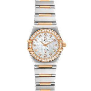 Omega MOP Diamonds 18K Rose Gold And Stainless Steel Constellation My Choice 1360.75.00 Women's Wristwatch 22.5 MM