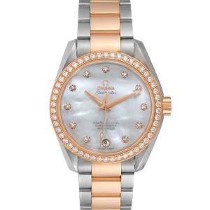 Omega MOP Diamonds 18K Rose Gold And Stainless Steel Aqua Terra 231.25.39.21.55.001 Women's Wristwatch 38.5 MM