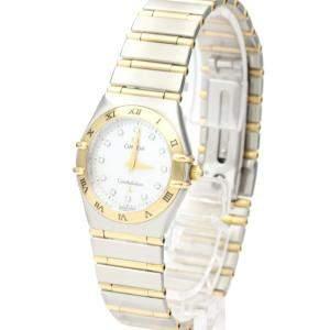 Omega MOP Diamonds 18k Yellow Gold And Stainless Steel Constellation 1272.75 Quartz Women's Wristwatch 25 MM