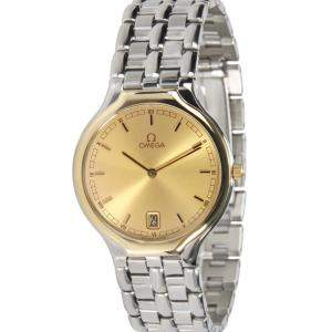 Omega Champagne 18K Yellow Gold And Stainless Steel Symbol 196 0316 396 1016 Women's Wristwatch 31 MM