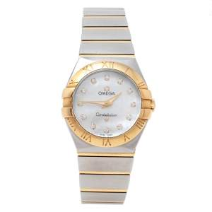 Omega Mother of Pearl 18K Yellow Gold & Stainless Steel Diamond Constellation 123.20.27.60.55.002 Women's Wristwatch 27 mm