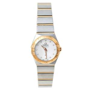 Omega Mother of Pearl 18K Yellow Gold and Stainless Steel Constellation 795.1001 Women's Wristwatch 27 mm