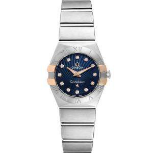 Omega Blue Diamonds 18K Yellow Gold And Stainless Steel Constellation 123.20.24.60.53.002 Women's Wristwatch 24 MM