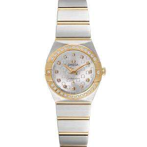 Omega Silver Diamonds 18K Yellow Gold And Stainless Steel Constellation 123.25.24.60.52.001 Women's Wristwatch 24 MM
