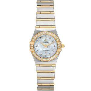 Omega MOP Diamonds 18K Yellow Gold And Stainless Steel Constellation 95 1267.75.00 Women's Wristwatch 22.5 MM