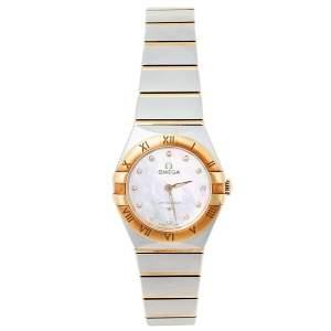 Omega MOP 18K Yellow Gold & Stainless Steel Diamond Constellation 131.20.25.60.55.002 Women's Wristwatch 25 mm