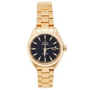 Omega Black 18K Yellow Gold Seamaster Aqua Terra 231.50.34.20.01.001 Women's Wristwatch 34 mm