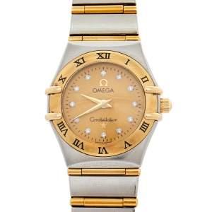 Omega 18K Yellow Gold & Stainless Steel Diamonds Constellation 95 1262.15.00 Women's Wristwatch 22.5 mm