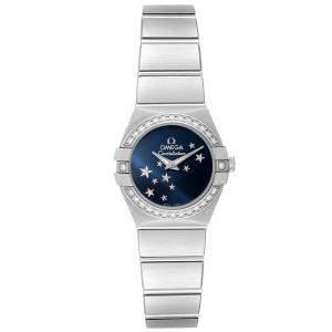 Omega Blue Diamonds Stainless Steel Constellation Orbis Star 123.15.24.60.03.001 Women's Wristwatch 24 MM
