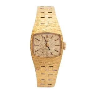 Omega Champagne Gold Plated Stainless Steel Vintage H5375 Women's Wristwatch 18 mm