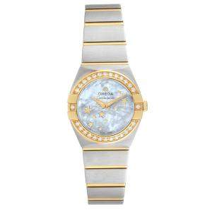 Omega MOP Diamonds 18K Yellow Gold And Stainless Steel Constellation Star 123.25.24.60.05.001 Women's Wristwatch 24 MM
