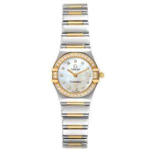 Omega MOP Diamonds 18K Yellow Gold And Stainless Steel Constellation 1365.75.00 Women's Wristwatch 22.5 MM