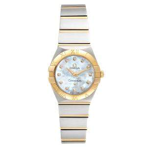 Omega MOP Diamonds 18K Rose Gold And Stainless Steel Constellation 123.20.24.60.55.001 Women's Wristwatch 24 MM
