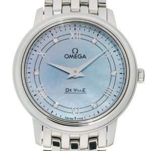 Omega Blue MOP Diamonds Stainless Steel De Ville Prestige 424.10.27.60.57.001 Women's Wristwatch 28 MM