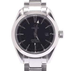 Omega Black Stainless Steel Seamaster Aqua Terra 2577.50 Quartz Women's Wristwatch 29 MM