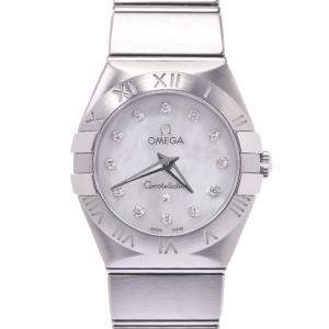 Omega MOP Diamonds Stainless Steel Constellation 123.10.24.60.55.001 Quartz Women's Wristwatch 24 MM