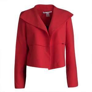 Oscar de la Renta Red Wool Open Front Cropped Jacket M