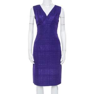 Oscar de la Renta Purple Textured Sheath Dress M