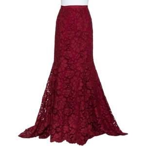 Oscar de la Renta Burgundy Lace Asymmetric Hem Maxi Skirt M