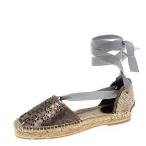 Oscar de la Renta Metallic Anthracite Laser Cut Leather Adriana Espadrille Flat Sandals Size 41