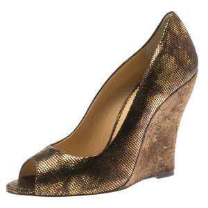 Oscar de la Renta Metallic Bronze Leather Romana Cork Wedge Peep Toe Pumps Size 40