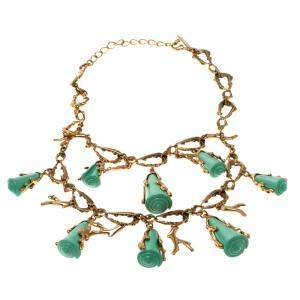 Oscar de la Renta Turquoise Resin Shell & Gold Tone Coral Two-tier Necklace