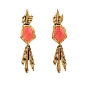 Oscar de la Renta Red Crystal Gold Tone Long Earrings