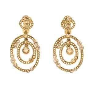 Oscar de la Renta Crystal Gold Tone Dangle Clip-on Earrings