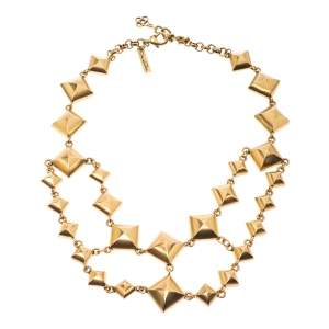 Oscar de la Renta Gold Tone Square Chain Link Necklace