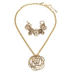 Oscar de la Renta Flower Motif Gold Tone Bracelet & Pendant Necklace Set